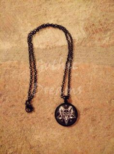 Dark gothic satanic glass pendant necklace with the Sigil of Baphomet