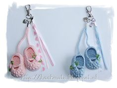 Chrochet baby slippers keychain. So cute! Who knows how to chrochet and wants to make one for me?!?! :)
