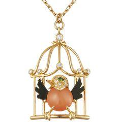 Cartier bird in cage pendant