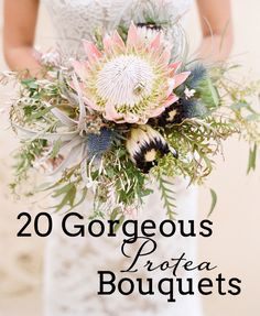 Ah proteas. The love affair that just keeps on going. Everytime I think I might have seen enough protea bouquets to last a lifetime (and let's be honest, as the editor of a South African wedd… Protea Wedding, Diy Wedding Flowers, Bridal Flowers, Floral Wedding, Wedding Bouquets, Wedding Ideas, Wedding Decor, Wedding Reception, Wedding Inspiration