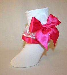 9df8f2621 Girls White Cotton Nylon Socks White Organza Hot Pink Satin Ribbon Ruffle  Jessie  SocksForAPrincess