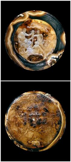 """The most significant showpiece of this period is the """"Tazza Farnese"""" in Naples. An approximately 107 BC produced, both sides engraved magnificent shell of banded agate with a diameter of 20 cm."""