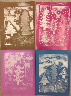 Mrs. Knight's Smartest Artists: Snowy Evergreen Collographs