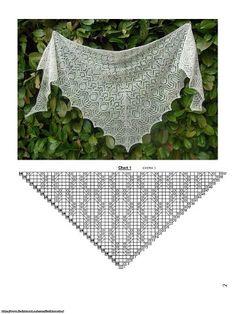 Knitting Charts, Lace Knitting, Knitting Stitches, Knitting Patterns, Crochet Patterns, Shawl Patterns, Lace Patterns, Clothing Patterns, Knitted Shawls
