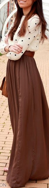 maxi skirt + sweater