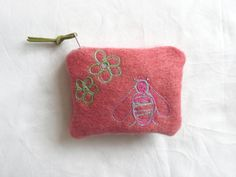 Embroidered coin purse  hand dyed wool purse  by elizabethkelley1, $20.00