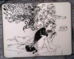 (Gabriel Picolo) on deviantART Kunst Inspo, Art Inspo, Art And Illustration, Sketchbook Inspiration, Art Sketchbook, Anime Kunst, Anime Art, Pen Art, Doodle Art