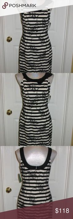 LILLY PULITZER PHOENIX BLACK SWIZZLE STRIPE Sheath dress with all over  soutash embroidery and a contrast 82dfefa06ef46