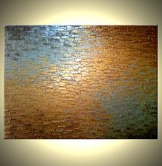 Original Abstract Gold Metallic Palette Knife Painting - Bronze Modern Textured Art by Lafferty - 36 x 48 - 22% Off Sale