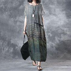 Linen Stripe Loose Casual Summer Women Green Dress
