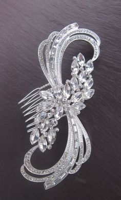 Art Deco Hair Comb. Crystal Art Nouveau by TalyasTreasures on Etsy