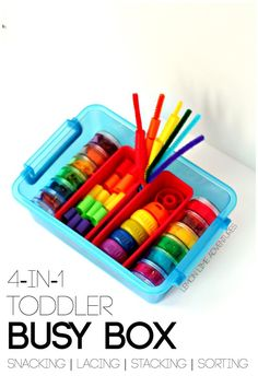 Looking for a busy box idea to keep your toddler busy? This rainbow busy box has it all! Stacking, Lacing, Sorting and even Snacking! Plus over 15 more ideas! Toddler Play, Toddler Learning, Baby Play, Toddler Preschool, Toddler Crafts, Early Learning, Fun Learning, Learning Activities, Toddler Stuff