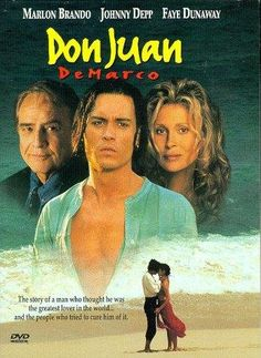 Don Juan DeMarco Directed by Jeremy Leven. With Johnny Depp, Marlon Brando, Faye Dunaway, Géraldine Pailhas. A psychiatrist must cure a young patient that presents himself as Don Juan, the greatest lover in the world. Marlon Brando, Top Movies, Great Movies, Movies To Watch, Faye Dunaway, Film Movie, Comedy Movies, Dramas, Vintage Movies