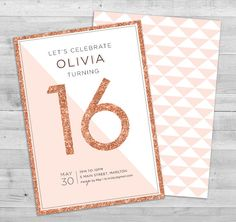 Sweet 16 Invitation | Teen Birthday Invitation Printable | 16th Birthday… https://www.birthdays.durban More