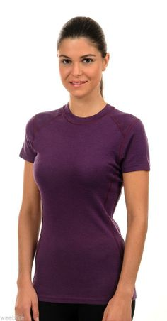 Hasyun Womens 100% Merino Wool SHORT SLEEVE Base Layer All Sizes PLUM