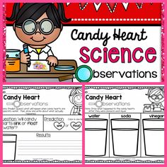 FREE candy {conversation} heart science observations activity. Perfect Valentine's Day experiment!!!