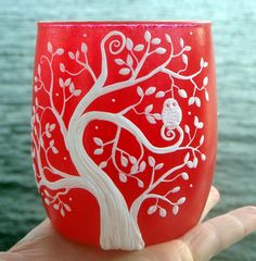 Cool White Owl in a Tree Sculpted with Polymer Clay onto a Hot Red Recycled Glass Candle Holder