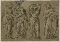 Paolo Farinati, c.1524-1606, Italian, Four Standing Draped Female Figures, n.d.  Pen and brown ink, heightened with lead white (partially oxidized), on gray laid paper, laid down on ivory laid paper, 20.2 x 28.7 cm.  Art Institute of Chicago.  Mannerism.