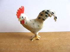 Klima Mini Rooster, Spotted, Yellow Feet, Miniature Animal Figurine, Chicken