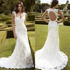 Sexy Mermaid Open Back Wedding Dress Lace Applique Bridal Gown 2 4 6 8 10 12 14+ in Clothing, Shoes & Accessories, Wedding & Formal Occasion, Wedding Dresses | eBay