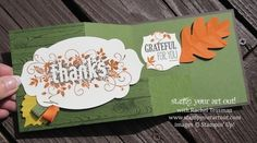 Pull Out fun fold card with Autumn colors using the Seasonally Scattered stamp set from the Holiday Catalog #stampyourartout #stampinup - Stampin' Up!® - Stamp Your Art Out! www.stampyourartout.com