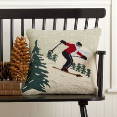 Found it at Wayfair - Downhill Skier Hooked Pillow