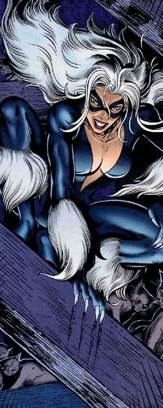 "Black Cat (Felicia Hardy) (Human) (Queens, New York City, New York, U.S.A.) Cat burglar, Private Investigator, founder of Cat's Eye Investigations. Peak human strength (can lift 365 kilos) speed (can run at 40 m.p.h.) smell, night vision. Retractable claws, electromagnetic contact lenses. Field Manipulation. Expert thief (picking locks, cracking safes, disarming alarm systems) Escapology. Olympic level gymnast, athlete. Expert acrobat, martial artist, Goju-ryu Karate, Judo. 5' 10"" tall.:"