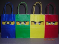 10 Lego Ninjago Party Goody Goodie Bags Treats Favor Tags Building Blocks Personalized Birthday Boys Red Yellow Blue Green. $19.95, via Etsy.