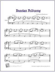 Russian Folksong (Beethoven) | Free Sheet Music for Harp - http://www.makingmusicfun.net/htm/f_printit_free_printable_sheet_music/russian-folksong-harp.htm