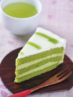 Gâteau au thé matcha, une recette de gâteau facile et étonannte de par sa couleur verte naturellement due au thé matcha
