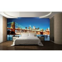 """Interior view """"New York East River"""". Bring life and style to your plain and boring walls with the enthralling (8-part, 366 x 254 cm) """"New York East River"""" Ideal Decor non-woven premium mural from W+G, one of the leading European suppliers of wall decoration products.  (Brooklyn Bridge, New York, USA)"""