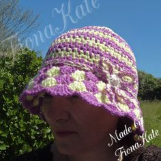 Funky Two Coloured Crochet Cloche Hat by madebyFionaKate on Etsy