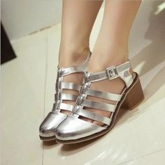 Free Shipping closed Toe Caged Summer Women Shoes PU Leather High Heel Gladiator Sandals Chunky Thick Heel 36