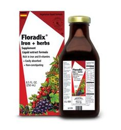 Floradix® Iron + herbs ~ Floradix® Iron + herbs is a safe, low dose, organic liquid iron supplement. It contains highly soluble iron gluconate as well as herbal extracts, whole food concentrates and co-factors vitamins B and C, and it is free of additives, alcohol, preservatives, GMO, gluten and lactose. Best of all, Floradix® Iron + herbs is easy on the stomach and non-constipating and is recommended for pregnant and lactating women, athletes, the elderly and vegetarians.