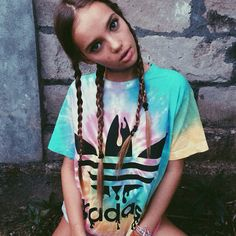 Comfortably edgy with multiple mini braids and a big, loose t-shirt. #streetstyle #tiedye #braids #ootd #cute #adidas