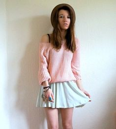 Batwing Puff Sleeve Ginger Jumpers Pink Sweater