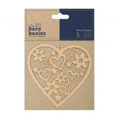 Wood Shapes - Heart - Bare Bas