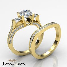 2.5ct Round Diamond 3 Stone Engagement Bridal Set Ring GIA F VVS2 14k Yellow Gold