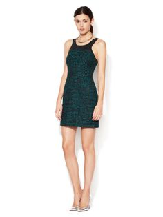 Tweed Sheath Dress with Faux Leather Yoke by The Letter at Gilt
