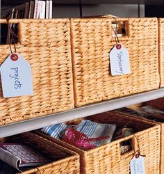 Love the baskets and tags that tell you whats in side!  I'm doing this!