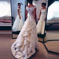 Find More Wedding Dresses Information about Elegant Empire Weeding Gowns Boat Neck Button Sashes Cap Sleeve Weeding Gowns robe de mariage Court Train Ruched Lace Dresses,High Quality gown hollywood,China gown dress Suppliers, Cheap dress up wedding gowns from Cinderella Dreaming Dresses on Aliexpress.com