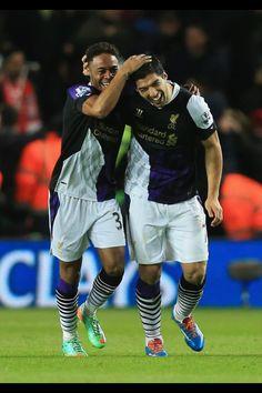 Suarez and sterling celebrate the goal vs Southampton 0 - 3 Lfc. Liverpool Football Club, Liverpool Fc, Premier League Soccer, Raheem Sterling, Own Goal, You'll Never Walk Alone, English Premier League, Southampton, Cute Photos