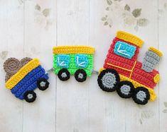 PATTERN Train Applique Crochet Pattern Crochet Transport Pattern Instant Download PDF Accessories Motif Ornament Baby Blanket Baby Gift ENG
