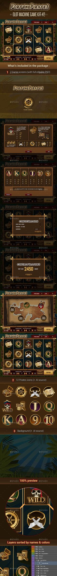Fortune Pirates  Slot Machine Game Kit — Photoshop PSD #chest #slot machine • Available here → https://graphicriver.net/item/fortune-pirates-slot-machine-game-kit/17204712?ref=pxcr
