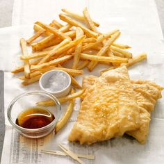 Perhaps the most ubiquitous of all UK comfort foods, crisp, tender fish and chips are traditionally accompanied by sea salt and vinegar.  Recipes: Fish and Chips   - Delish.com