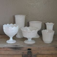 Set of 6 Vintage Milk Glass Compotes and Vases by silkcreekgallery, $54.00