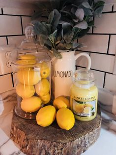 A Star Home And Decor Rae Dunn Lemonade Lemons Kitchen Display Lemon Kitchen Decor, Farmhouse Kitchen Decor, New Kitchen, Spring Kitchen Decor, Yellow Kitchen Decor, Kitchen Ideas, Summer House Decor, Kitchen Decor Themes, Modern Farmhouse