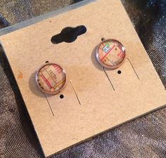 Rose gold metal studs feature vintage Chicago maps under resin.  (Note: these cannot be guaranteed nickel-free)