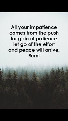 #Rumi ..All your impatience comes from the push for gain of patience. Let go of the effort and peace will arrive.