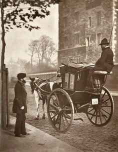 A hansom (one of the most popular and maneuverable 19th century carriages, named after its inventor John Hansom) in London, 1877